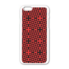 Abstract Background Red Black Apple iPhone 6/6S White Enamel Case