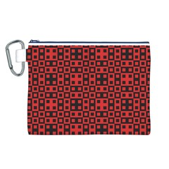 Abstract Background Red Black Canvas Cosmetic Bag (L)