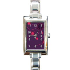 Abstract Lines Radiate Planets Web Rectangle Italian Charm Watch