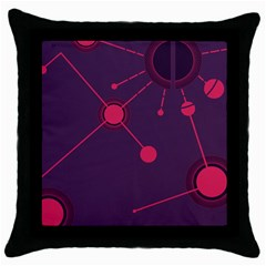 Abstract Lines Radiate Planets Web Throw Pillow Case (black)