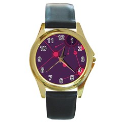 Abstract Lines Radiate Planets Web Round Gold Metal Watch