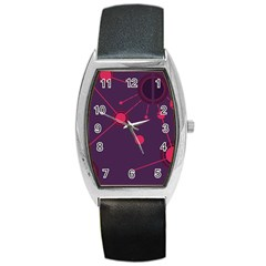 Abstract Lines Radiate Planets Web Barrel Style Metal Watch