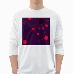 Abstract Lines Radiate Planets Web White Long Sleeve T-Shirts