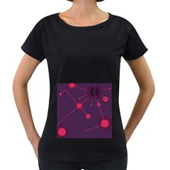 Abstract Lines Radiate Planets Web Women s Loose Fit T Shirt (black)