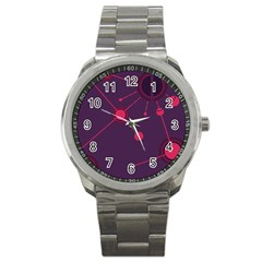 Abstract Lines Radiate Planets Web Sport Metal Watch