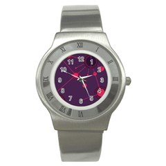 Abstract Lines Radiate Planets Web Stainless Steel Watch