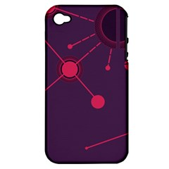 Abstract Lines Radiate Planets Web Apple iPhone 4/4S Hardshell Case (PC+Silicone)