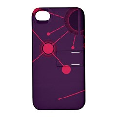 Abstract Lines Radiate Planets Web Apple Iphone 4/4s Hardshell Case With Stand