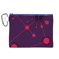 Abstract Lines Radiate Planets Web Canvas Cosmetic Bag (xl)