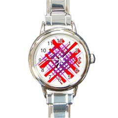Chaos Bright Gradient Red Blue Round Italian Charm Watch