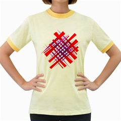 Chaos Bright Gradient Red Blue Women s Fitted Ringer T-Shirts