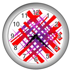 Chaos Bright Gradient Red Blue Wall Clocks (Silver)