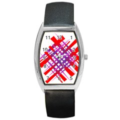 Chaos Bright Gradient Red Blue Barrel Style Metal Watch