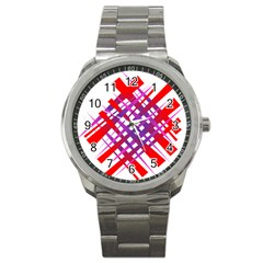 Chaos Bright Gradient Red Blue Sport Metal Watch