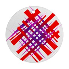 Chaos Bright Gradient Red Blue Round Ornament (Two Sides)