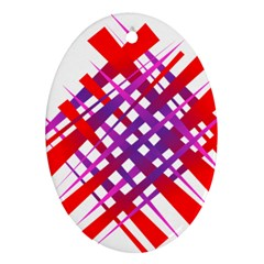 Chaos Bright Gradient Red Blue Oval Ornament (two Sides)