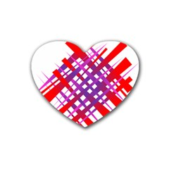 Chaos Bright Gradient Red Blue Rubber Coaster (Heart)