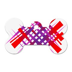 Chaos Bright Gradient Red Blue Dog Tag Bone (Two Sides)