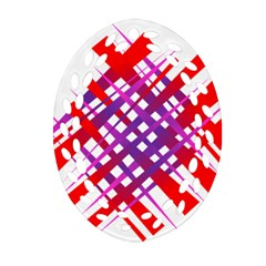 Chaos Bright Gradient Red Blue Ornament (oval Filigree)