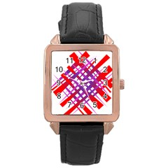 Chaos Bright Gradient Red Blue Rose Gold Leather Watch