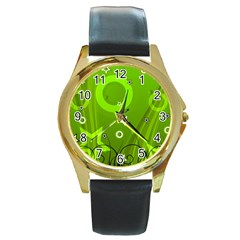 Art About Ball Abstract Colorful Round Gold Metal Watch