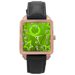 Art About Ball Abstract Colorful Rose Gold Leather Watch