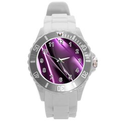 Fractal Mathematics Abstract Round Plastic Sport Watch (L)