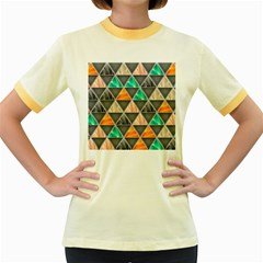 Abstract Geometric Triangle Shape Women s Fitted Ringer T-Shirts