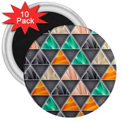 Abstract Geometric Triangle Shape 3  Magnets (10 pack)
