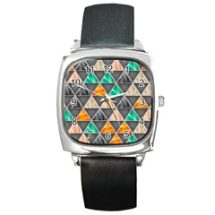 Abstract Geometric Triangle Shape Square Metal Watch