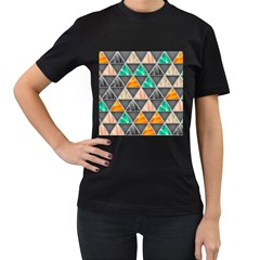 Abstract Geometric Triangle Shape Women s T-Shirt (Black) (Two Sided)