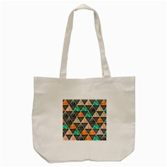 Abstract Geometric Triangle Shape Tote Bag (Cream)