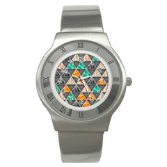 Abstract Geometric Triangle Shape Stainless Steel Watch