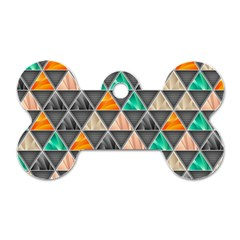Abstract Geometric Triangle Shape Dog Tag Bone (Two Sides)