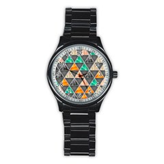 Abstract Geometric Triangle Shape Stainless Steel Round Watch