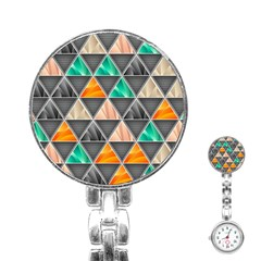 Abstract Geometric Triangle Shape Stainless Steel Nurses Watch