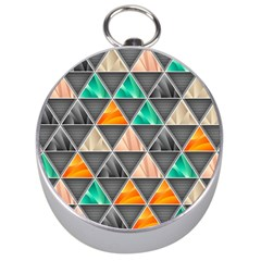 Abstract Geometric Triangle Shape Silver Compasses