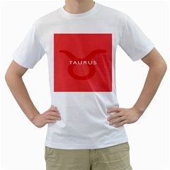 Zodizc Taurus Red Men s T-Shirt (White) (Two Sided)