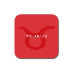 Zodizc Taurus Red Rubber Square Coaster (4 pack)