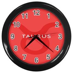 Zodizc Taurus Red Wall Clocks (Black)