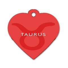 Zodizc Taurus Red Dog Tag Heart (Two Sides)