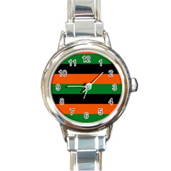 Color Green Orange Black Round Italian Charm Watch