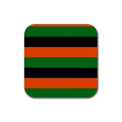 Color Green Orange Black Rubber Coaster (Square)