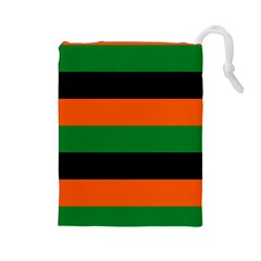 Color Green Orange Black Drawstring Pouches (Large)