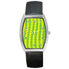 Arrow Triangle Green Yellow Barrel Style Metal Watch
