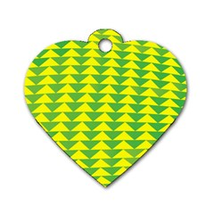 Arrow Triangle Green Yellow Dog Tag Heart (Two Sides)
