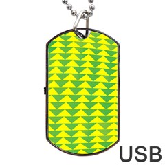 Arrow Triangle Green Yellow Dog Tag USB Flash (Two Sides)