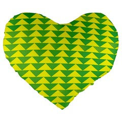 Arrow Triangle Green Yellow Large 19  Premium Flano Heart Shape Cushions