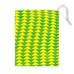 Arrow Triangle Green Yellow Drawstring Pouches (Extra Large)