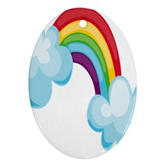 Could Rainbow Red Yellow Green Blue Purple Ornament (Oval)